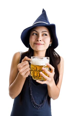 pretty woman with a huge draft beer over white photo