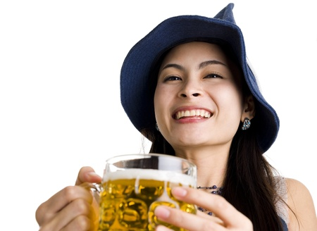 beautiful asian with hat and beer isolated on white background photo