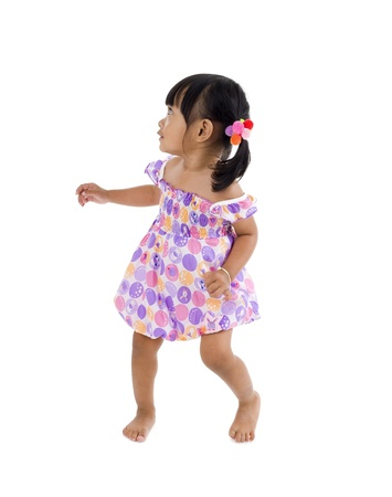 defensive posture: cute girl bothered by something from the side