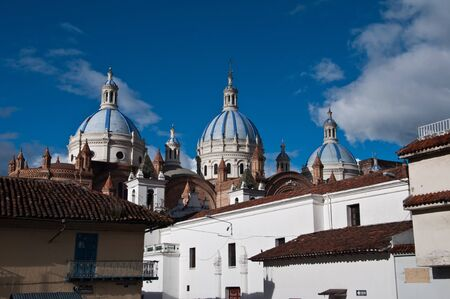 ecuador: New cathedral in Cuenca with blue sky