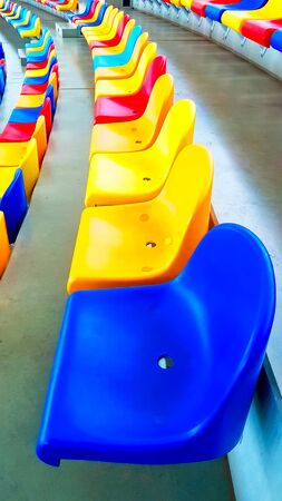 Colorful benches in a stadium