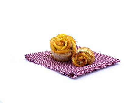 servilleta: Apple toast on napkin Foto de archivo