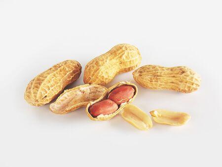 ground nut: Dried ground nut on white background