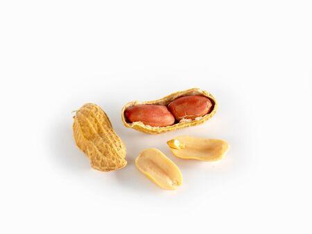 protien: Dried ground nut on white background