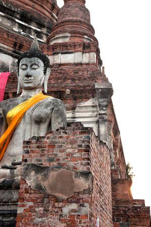 chaimongkol: buddha statues at Wat Yai Chaimongkol Ayutthaya bangkok thailand.