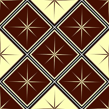 seamless geometric pattern, brown with a yellow diamond with a star, vector illustration