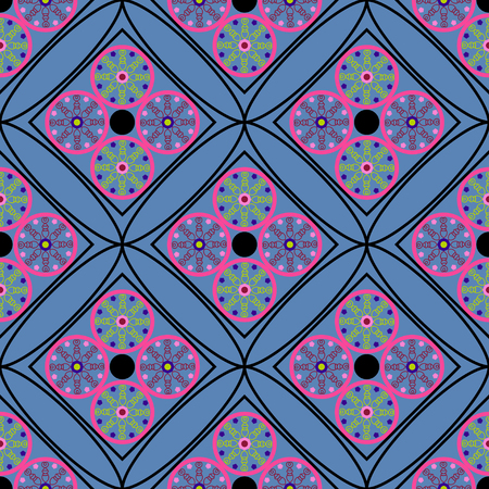 geometric seamless pattern, unusual rhombus with circles in the inside on a dark blue background, vector illustration