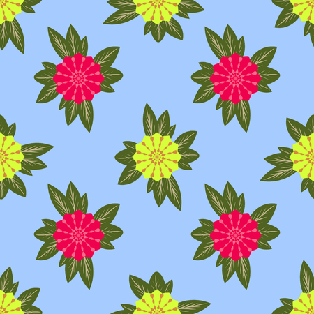 raspberry pink: seamless pattern, beautiful unusual flowers on a light blue background, vector illustration