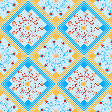 seamless geometric pattern, orange and turquoise rhombus with unusual flowers, vector illustration