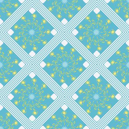 seamless geometric pattern, white rhombus with an unusual flower on a blue background, vector illustration Illustration