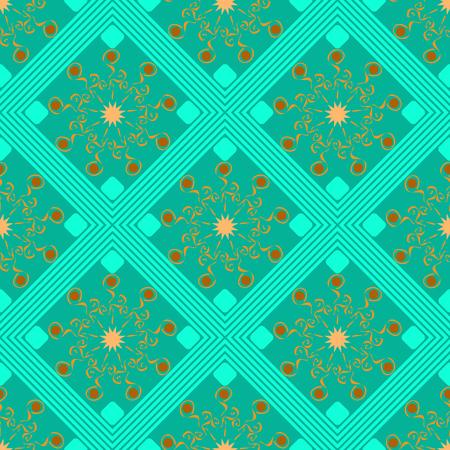 seamless geometric pattern, turquoise rhombus with an unusual orange flowers, vector illustration Иллюстрация