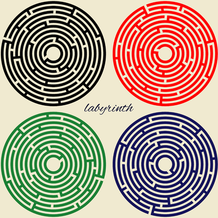 beautiful unusual pattern, colorful round labyrinths, vector illustration