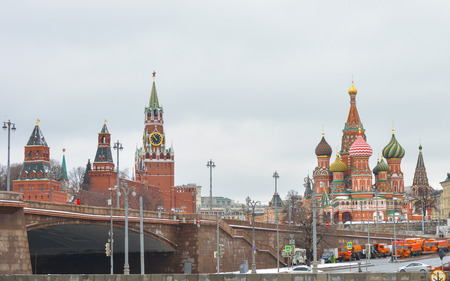 MOSCOW February 24, 2017: View from the Sofia quay to Spasskaya Saviour Tower, St. Basils Cathedral