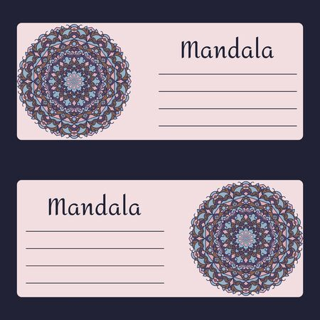 indium: Vintage cards with Floral mandala pattern and ornaments. Vector leaflet oriental design Layout template.Wedding invitation or greeting card with beautiful floral mandala, a place for your text.  Vector illustration.