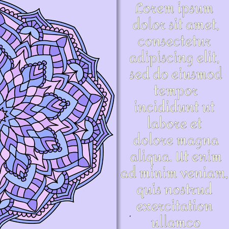 ornamental design: Vintage card with mandala pattern and ornament.