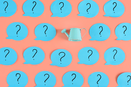 On the pink background, many blue stickers with question marks have been glued. Among them is a blue watering can. An unusual concept with meaning.