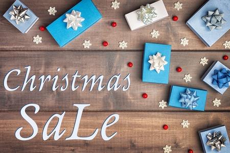 Christmas composition with Christmas Sale. Stock Photo