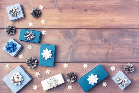 Christmas composition with copy space. Festive layout.