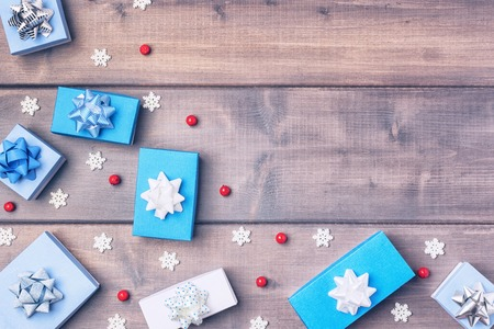 Christmas composition with copy space on wooden Stock Photo