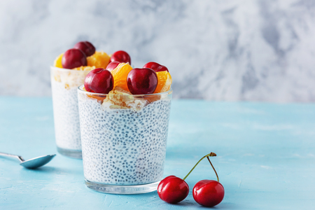 Dietary Greek Yogurt with Chia Seeds Superfood Banco de Imagens