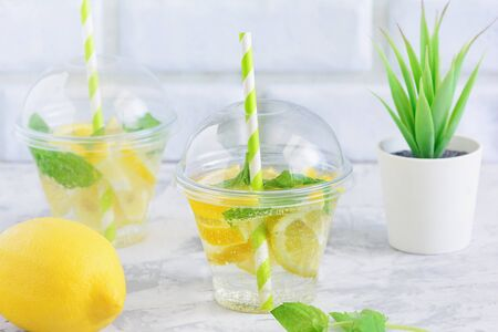 Cool Detox Water with Lemon Slice and Mint Leaf. Natural Weight Loss Beverage.