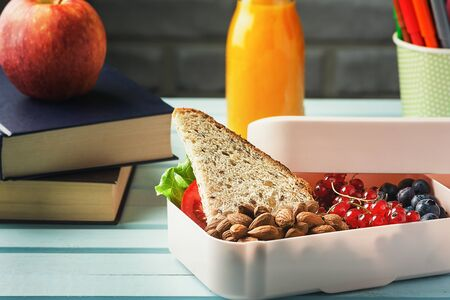 Vegetarian Sandwich, Almond and Berries Diet Food in Plastic Container Copy Space.