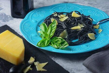 Portion Delicious Cuttlefish Black Ink Spaghetti Copy Space.
