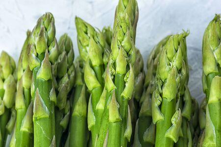 Fresh green asparagus closeup. Fresh healthy diet plant.
