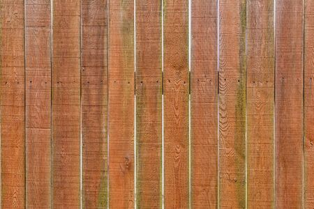 The structure of the wooden fence. Smooth vertical brown boards. Background for sites and layouts.