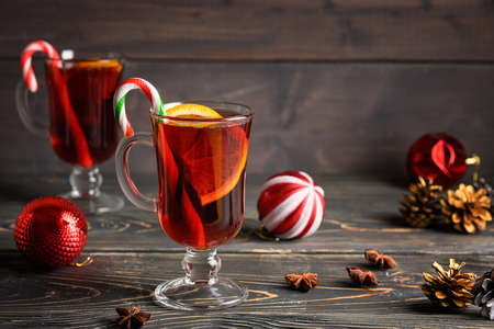 Two glasses with Christmas mulled wine. Holiday atmosphere. Copy space for text