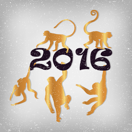 chinese script: golden monkeys silhouette new year vector set Illustration