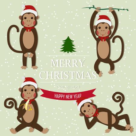 mono caricatura: Conjunto de Zodiaco chino - Monos. Ilustraci�n del vector. 2016 S�mbolo A�o Nuevo. Sentado mono, mono del baile. Mono en el sombrero de Santa. Saludo de A�o Nuevo y Navidad.