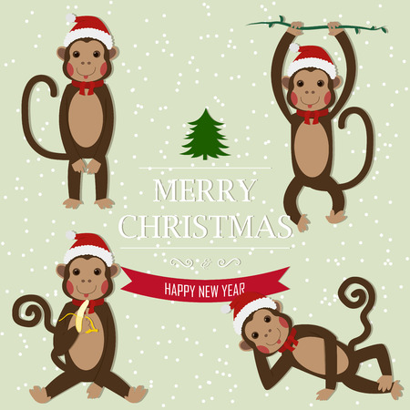santa claus hats: Set of Chinese Zodiac - Monkeys. Vector illustration. 2016 New Year Symbol. Sitting Monkey, Dancing Monkey. Monkey in Santa Hat. Greeting for New Year and Christmas. Illustration