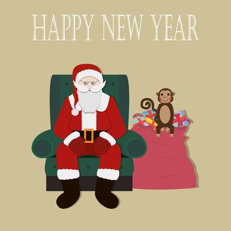 clause: Santa Clause Christmas Monkey Cartoon Character Flat Vector Illustration Illustration