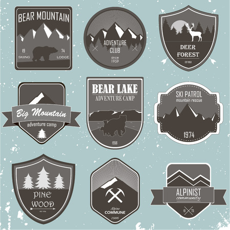expedition: Set of outdoor adventure and expedition logo badges Illustration