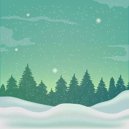 spruce tree: winter landscape with spruce tree and snowfall Illustration