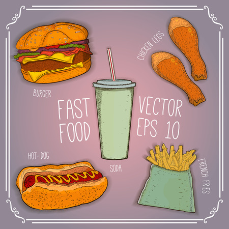 french cafe: burger, hot-dog, soda, french fries, chicken legs on wooden background. fast food for cafe and restaurant menu. hand drawn illustration. vector