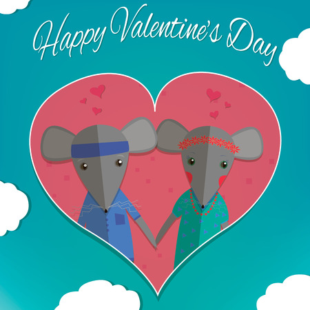 cute cartoon boy: Mouse boy and mouse girl. Couple in love. Romantic concept. Valentines day greeting card. Cute cartoon  Illustration