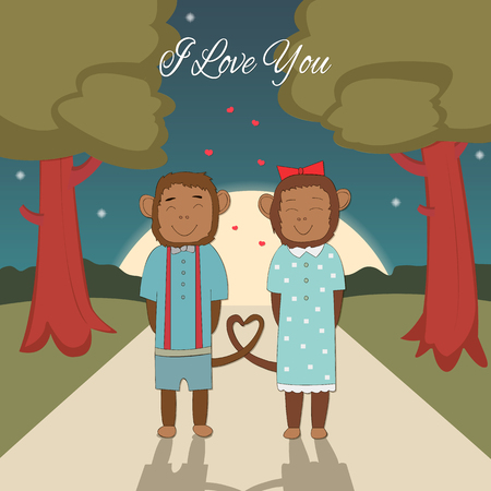 romantic getaway: Valentines day card with romantic couple monkeys Vector background Illustration