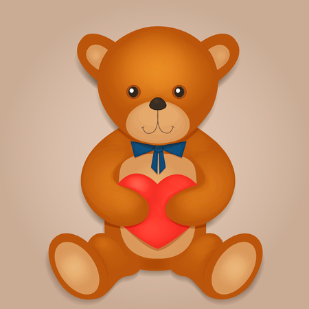 soft toys: Teddy bear with red heart. Vector illustration Illustration