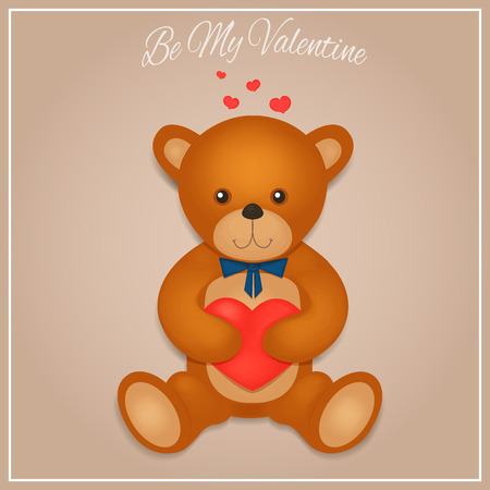 cute girl: Valentines day card with teddy bear. Vector illustration