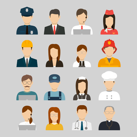 police icon: Professions Vector Flat Icons. People, signs, symbols set