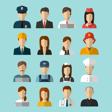 scientist: Professions Vector Flat Icons. People, signs, symbols set