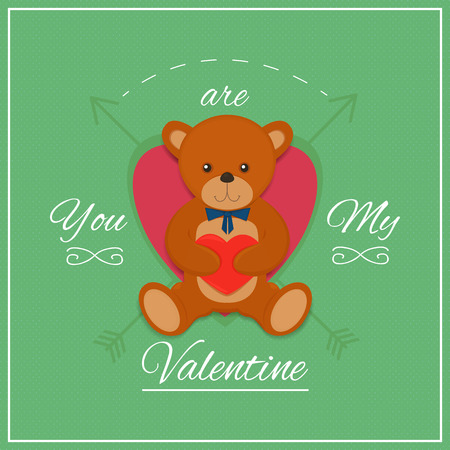 soft toys: Valentines day card with teddy bear. Vector illustration