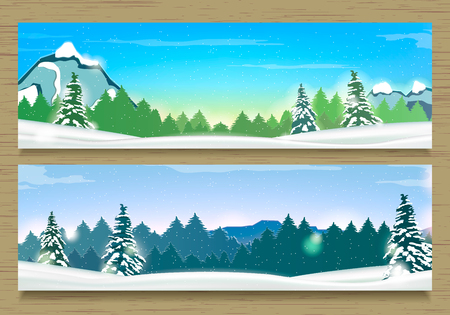 overlooking: Two Banners with Winter Landscape and Snow Mountains. Winter Background.