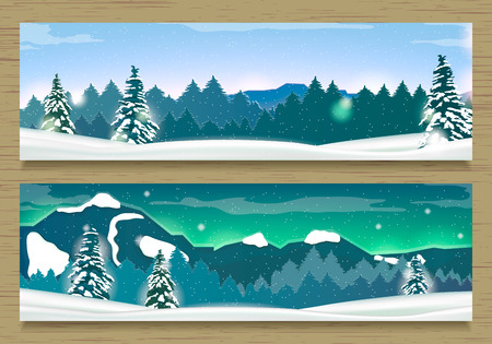 Two Banners with Winter Landscape and Snow Mountains. Winter Background.