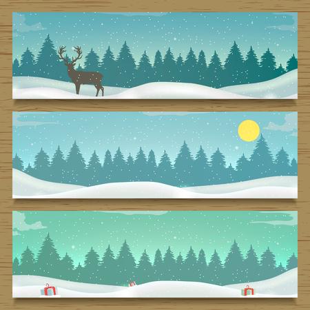 Three winter landscape banners. Winter backround. New Year 2016. illustration 일러스트
