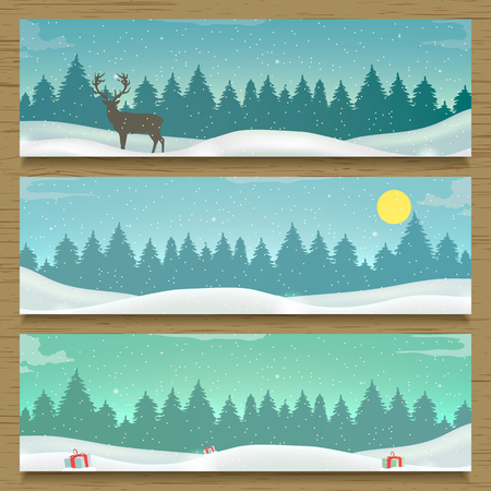 Three winter landscape banners. Winter backround. New Year 2016. illustration 向量圖像