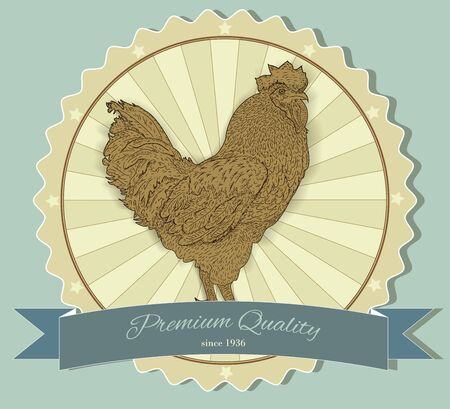 caligraphic: Vintage badge with Rooster. Vector illustration.