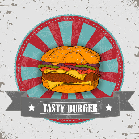 tasty: Tasty Burger with vintage badge.